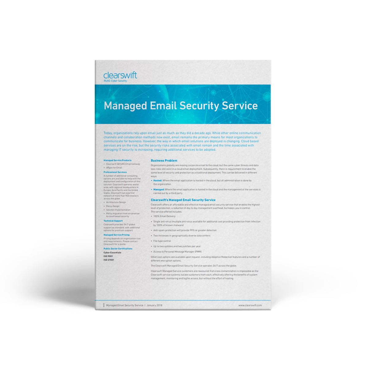 Clearswift Managed Email Security Service datasheet | Clearswift