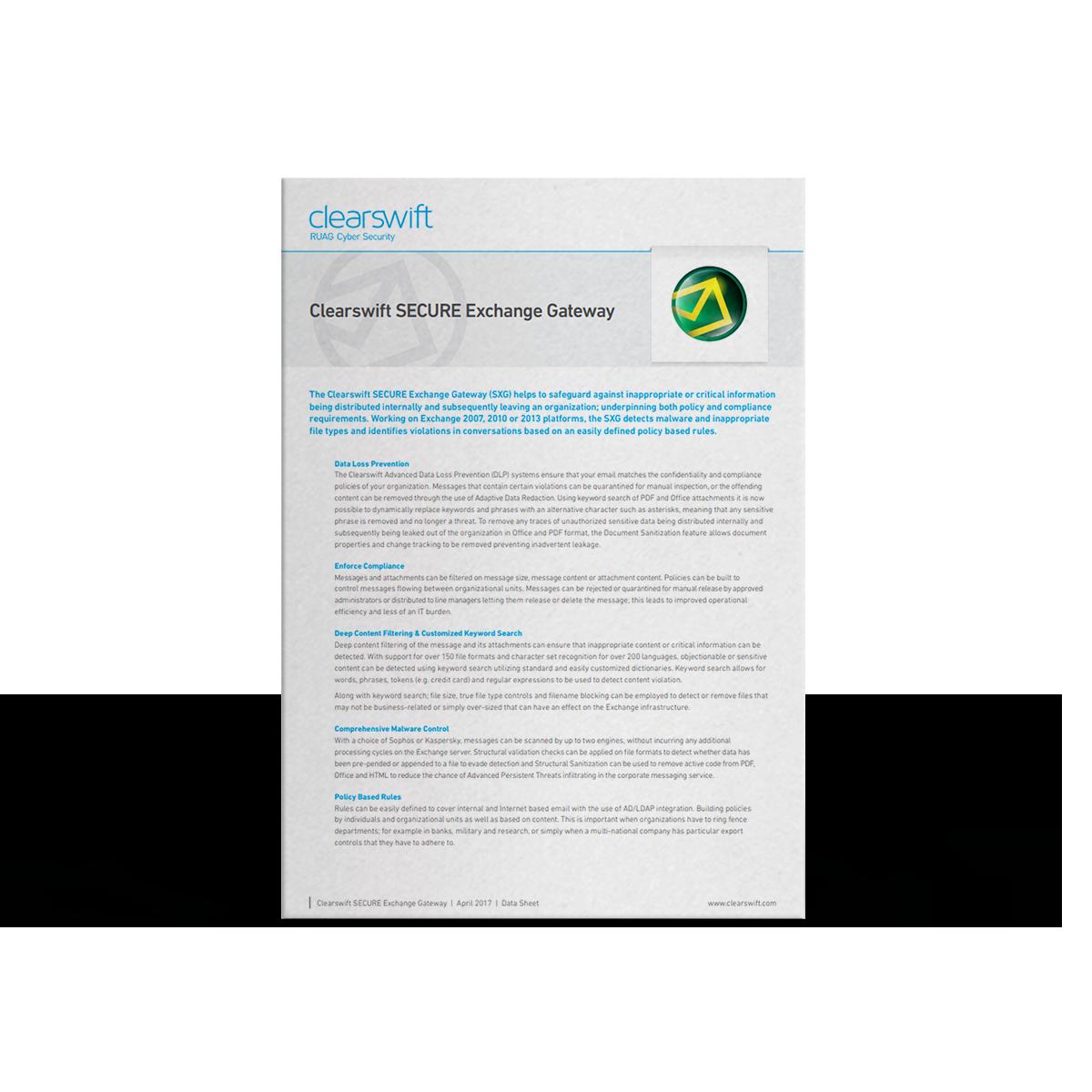 Clearswift SECURE Exchange Gateway datasheet | Clearswift