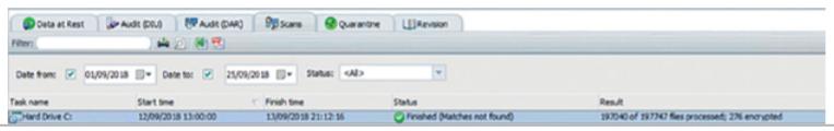 Clearswift GUI Example DAR Scan