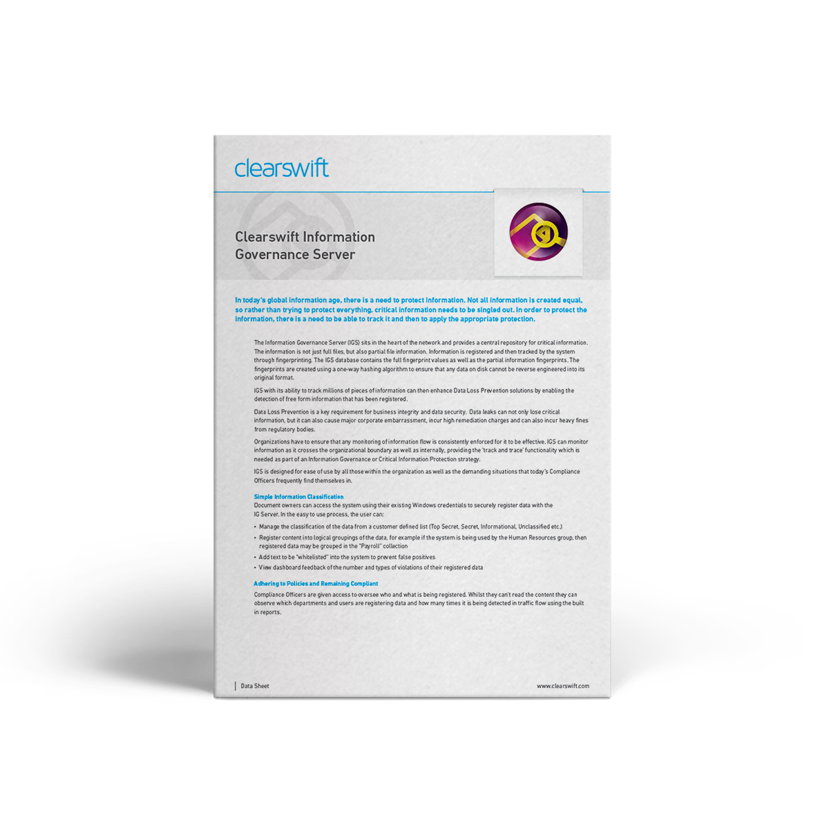 Clearswift IGS datasheet